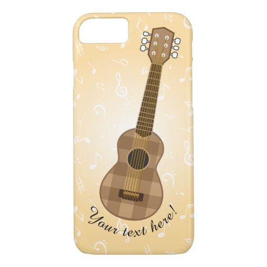 Cute Chequered Brown Guitar Graphic iPhone 8/7 Case