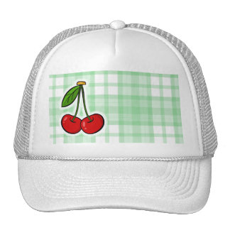 Cute Cherry Green Plaid Trucker Hats