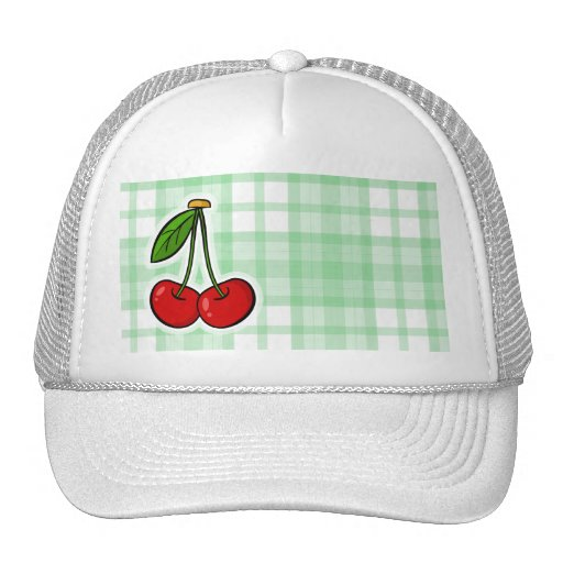 Cute Cherry & Green Plaid Trucker Hats