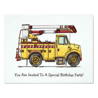 Cute Cherry Picker Truck 11 Cm X 14 Cm Invitation Card