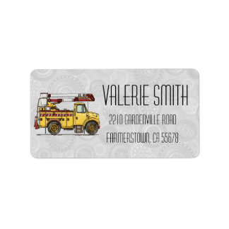 Cute Cherry Picker Truck Address Label