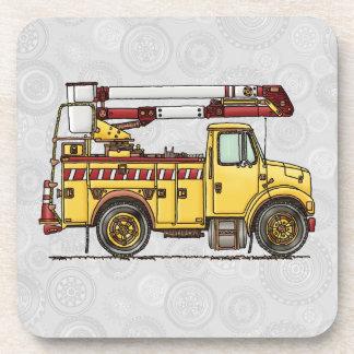 Cute Cherry Picker Truck Beverage Coasters