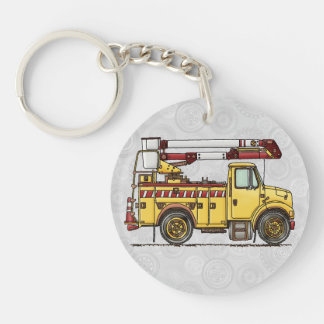 Cute Cherry Picker Truck Double-Sided Round Acrylic Key Ring