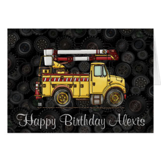 Cute Cherry Picker Truck Greeting Card