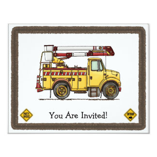 "Cute Cherry Picker Truck 4.25"" X 5.5"" Invitation Card"