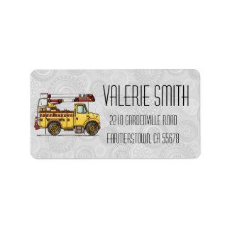 Cute Cherry Picker Truck Address Label