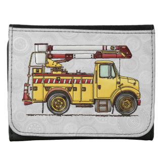 Cute Cherry Picker Truck Leather Wallet