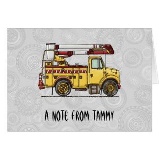 Cute Cherry Picker Truck Note Card