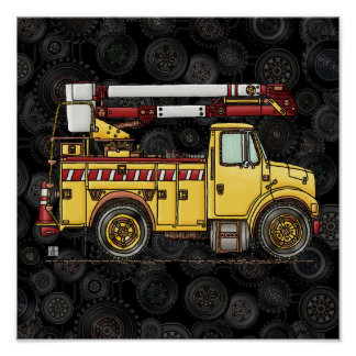 Cute Cherry Picker Truck Poster