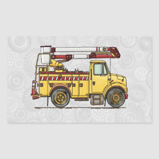 Cute Cherry Picker Truck Rectangular Sticker