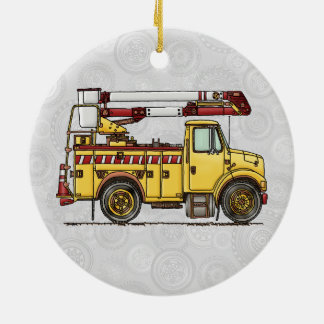 Cute Cherry Picker Truck Round Ceramic Decoration
