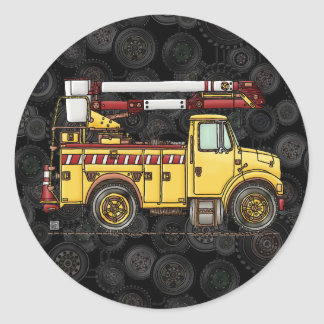 Cute Cherry Picker Truck Round Sticker