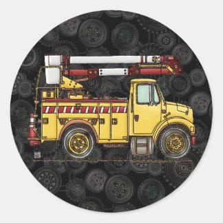 Cute Cherry Picker Truck Round Sticker
