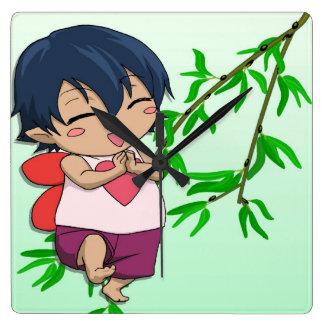 Cute cherub Manga fairy boy Square Wall Clock