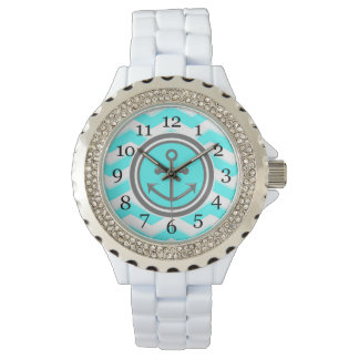 Cute Chevron Anchor Smile Wrist Watches