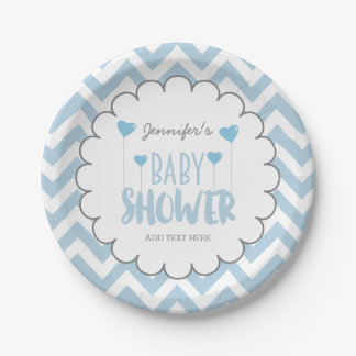 CUTE CHEVRON BABY BOY SHOWER PAPER PLATE | CUSTOM 7 INCH PAPER PLATE
