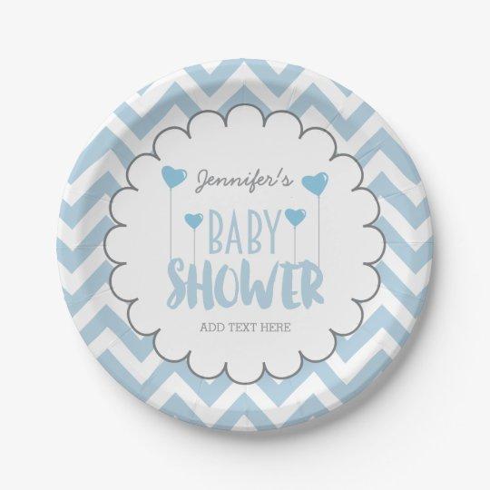 CUTE CHEVRON BABY BOY SHOWER PAPER PLATE |