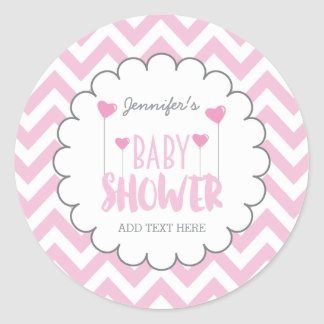CUTE CHEVRON BABY GIRL SHOWER STICKERS | CUSTOM