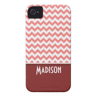 Cute Chevron; Coral iPhone 4 Case-Mate Case