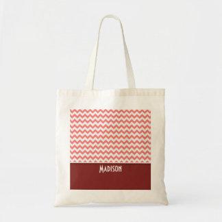 Cute Chevron; Coral Tote Bag