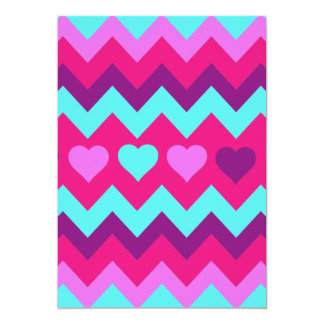 Cute Chevron Hearts Pink Teal Teen Girl Gifts Personalized Invite