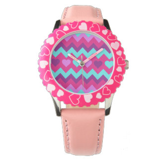 Cute Chevron Hearts Pink Teal Teen Girl Gifts Watch