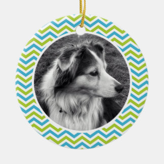Cute Chevron Stripes Photo and Personalized Text Round Ceramic Decoration