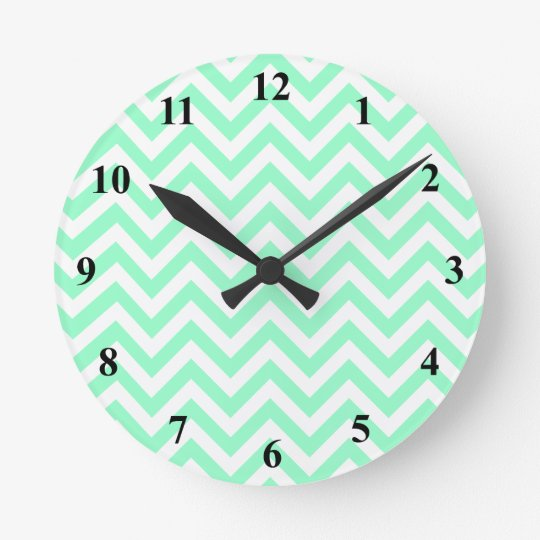 Cute chevron wall clock | Turquoise zigzag stripes