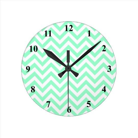 Cute chevron wall clock   Turquoise zigzag stripes
