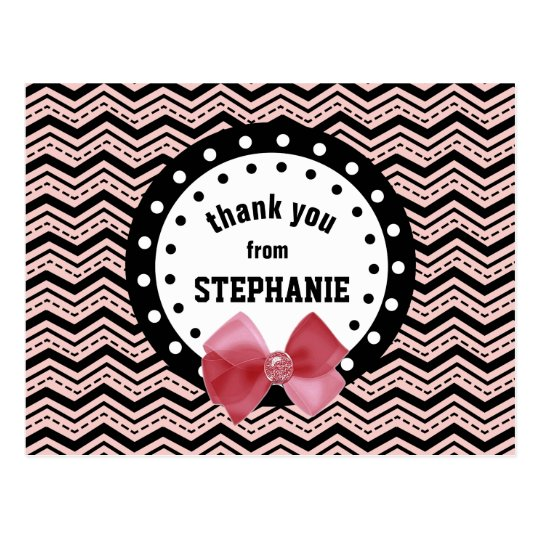 Cute Chevrons, Dots, and Bow Pink and Black Z55 Postcard