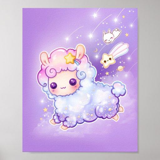 Cute chibi alpaca with kawaii shooting star poster