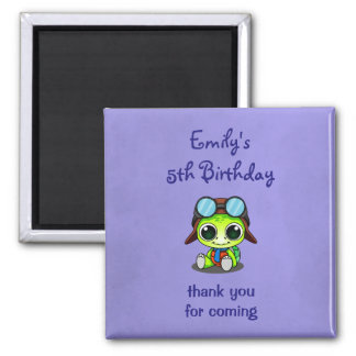 Cute Chibi Cartoon Turtle Birthday Thank You Square Magnet
