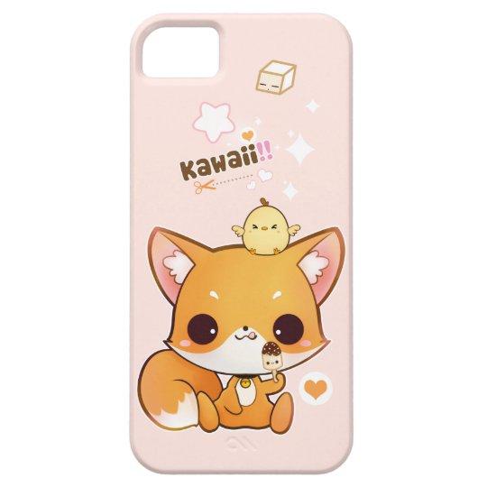 Cute chibi fox with kawaii chick and icecream