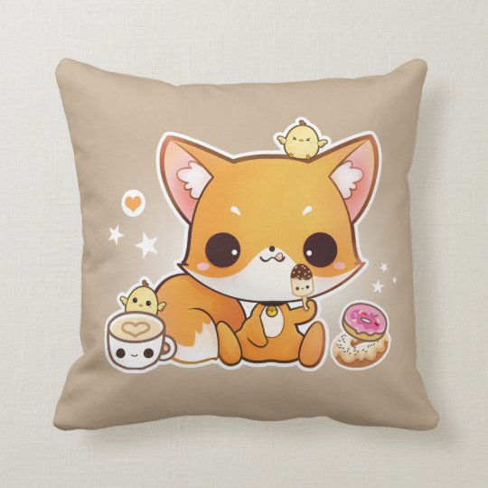 Cute chibi fox with kawaii icecream cushion