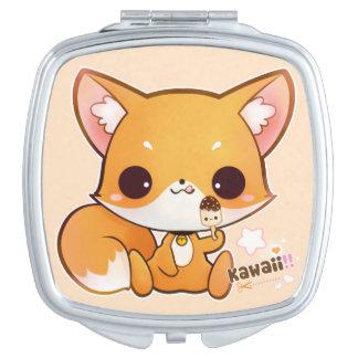 Cute chibi fox with kawaii icecream compact mirror
