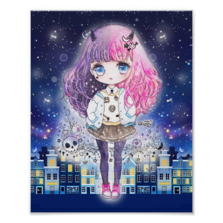 Cute chibi girl in a city of stars poster