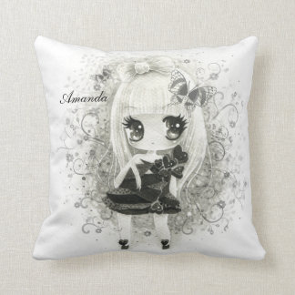 Cute chibi girl in black white - Personalized Pillows