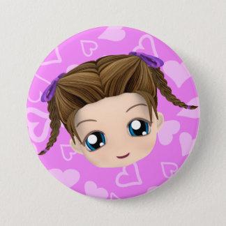 Cute Chibi Girl Sticking Tongue Out Button