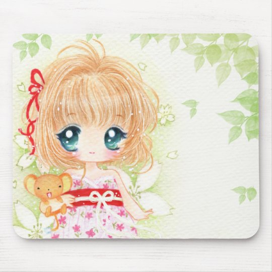 Cute chibi girl with kawaii plushie mouse pad
