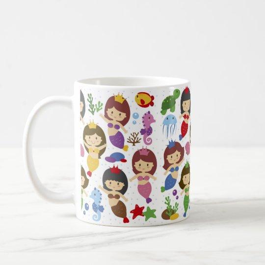 Cute chibi mermaids illustration pattern coffee mug