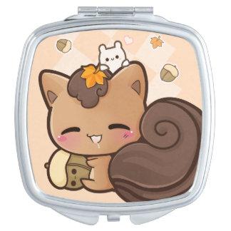 Cute chibi squirrel with kawaii chestnut vanity mirrors