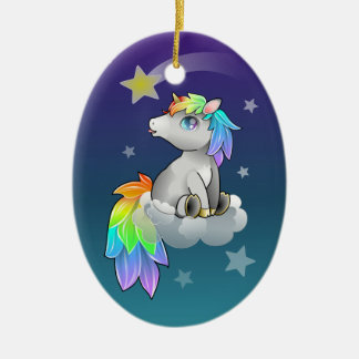 Cute Chibi Unicorn, Rainbow and Stars ornament