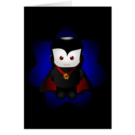 Cute Chibi Vampire Card - Dark Backgrounds