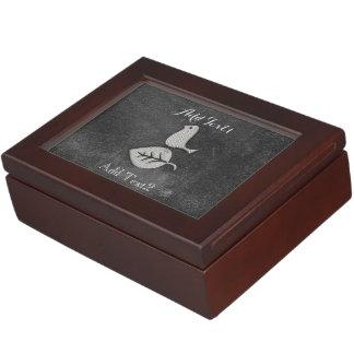 Cute Chic Add Text Silver Bird Box Keepsake Boxes