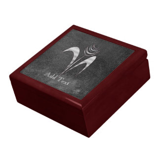 Cute Chic Add Text Silver Grey Flower Large Square Gift Box