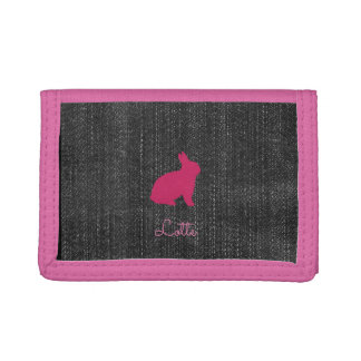 Cute Chic Pink Bunny Denim Wallet