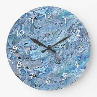 Cute Chic Purple Blue Faux Sea Shell Pattern Large Clock