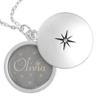 Cute Chic Silver Flower Ornament Add Name Necklace