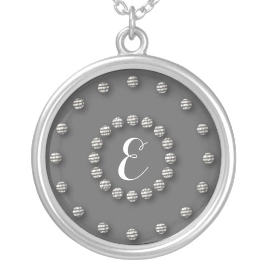 Cute Chic Silver Ring Monogram Necklace