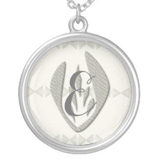 Cute  Chic Silver Tulip Monogram Necklace